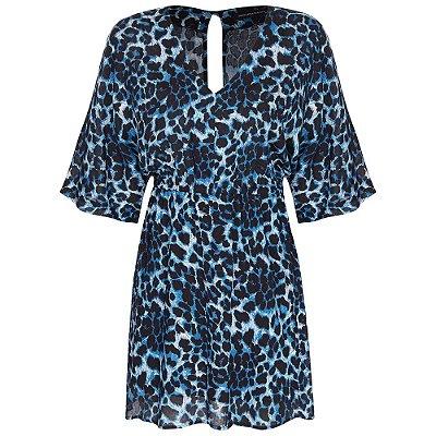 Vestido Beth Onça Azul