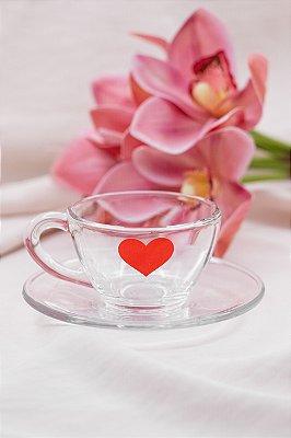 Xícara de Vidro Coração Vermelho