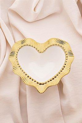 Bowl Coração Gold Cerâmica