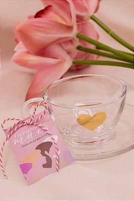 Xícara de Vidro Coração Dourado