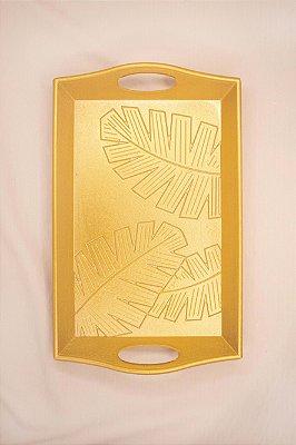 Bandeja Decorativa de Madeira Dourada