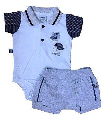 3665b2d864 Conjunto Carters com Camisa Gola Polo Verde e Short Listrado Bebê ...