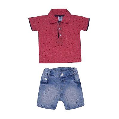 Conjunto Infantil Camisa Polo Vermelha e Bermuda Jeans Sonho Mágico 76b27f2c73e76