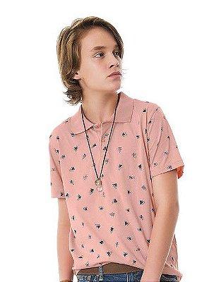 Camisa Polo Juvenil Rosa Pêssego Estampada Rovitex Teen