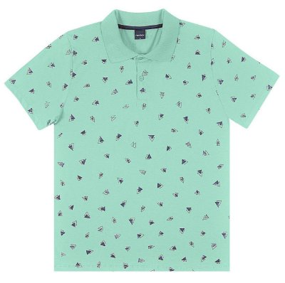 Camisa Polo Juvenil Verde Claro Estampada Rovitex Teen