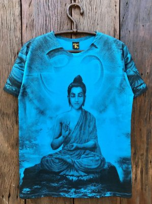 Camiseta Indiana Masculina Buda Mantra Om Azul