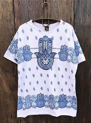 Camiseta Indiana Masculina Hamsá Mão de Fátima