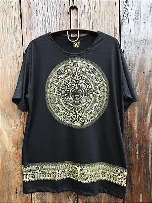 Camiseta Indiana Masculina Mandala Asteca Preta