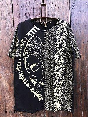 Camiseta Indiana Masculina Buda Preta