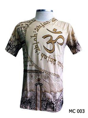 Camiseta Indiana Masculina Mantra Om Creme
