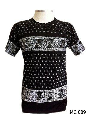 Camiseta Indiana Masculina Ondas Preta