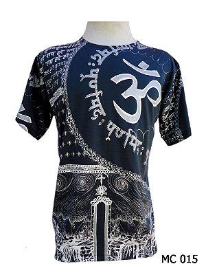 Camiseta Indiana Masculina Mantra Om Azul Marinho
