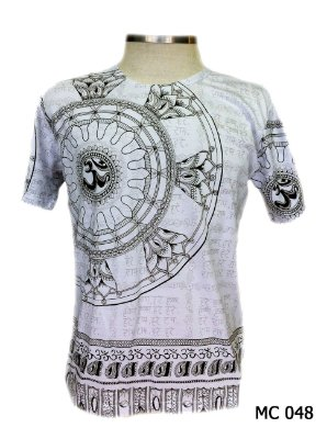 Camiseta Indiana Masculina Mandala Flor de Lótus Cinza