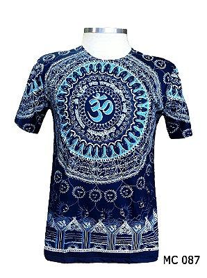 Camiseta Indiana Masculina Mantra Om Azul Escuro