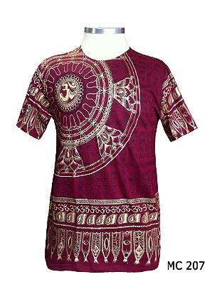 Camiseta Indiana Masculina Mandala Flor de Lótus Vinho