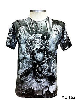 Camiseta Indiana Masculina Deuses Krishna Cinza