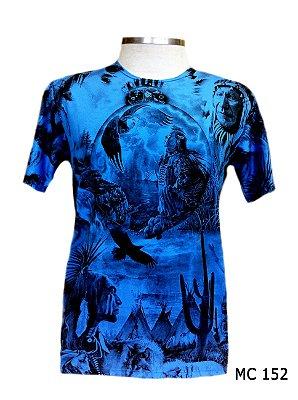 Camiseta Indiana Masculina Xamânica Azul