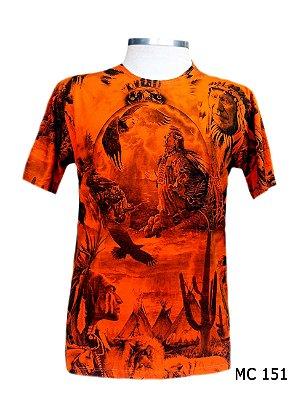 Camiseta Indiana Masculina Xamanismo Laranja