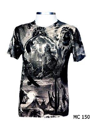 Camiseta Indiana Masculina Xamânica Preta