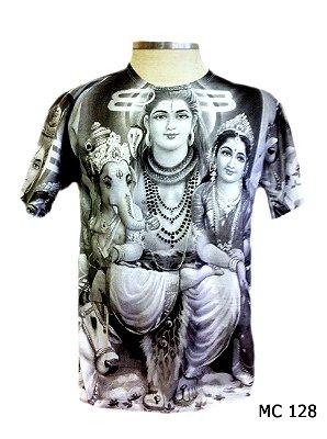 Camiseta Indiana Masculina Deuses Ganesha, Shiva e Pavarti