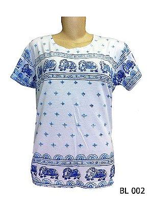 Camiseta Indiana Feminina Elefantes Branca
