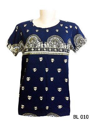 Camiseta Indiana Feminina Estampada Azul Marinho