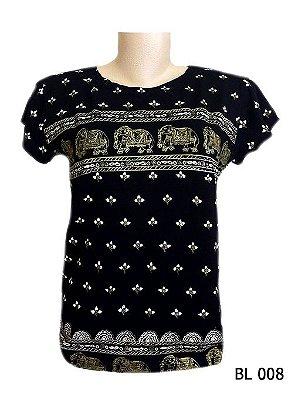 Camiseta Indiana Feminina Estampada Elefantes Preta