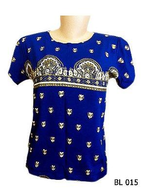 Camiseta Indiana Feminina Estampada Azul