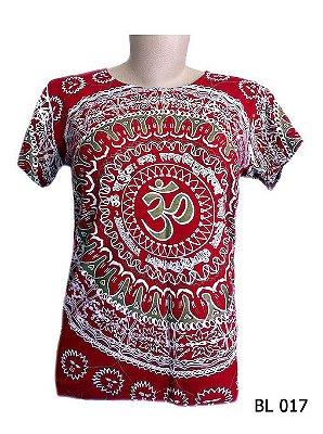 Camiseta Indiana Feminina Mandala Mantra Om Vermelha