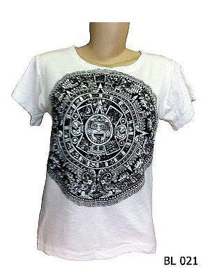 Camiseta Indiana Feminina Mandala Asteca Branca