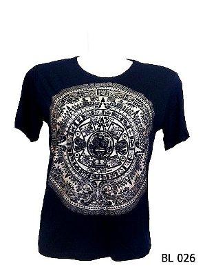 Camiseta Indiana Feminina Mandala Asteca Preta