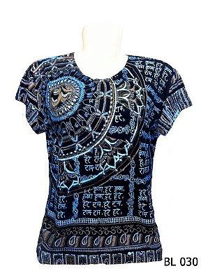 Camiseta Indiana Feminina Mandala Mantra Om Marinho