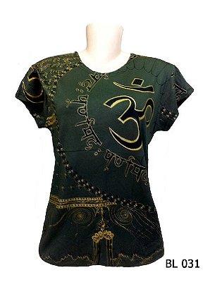 Camiseta Indiana Feminina Mantra Om Verde Musgo