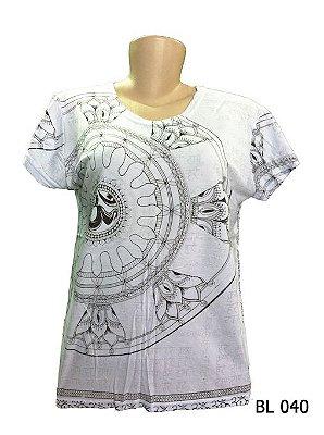 Camiseta Indiana Feminina Mandala Om Flor de Lótus Branca