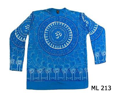 Blusa Manga Longa Indiana Masculina Mandala Mantra Om Azul
