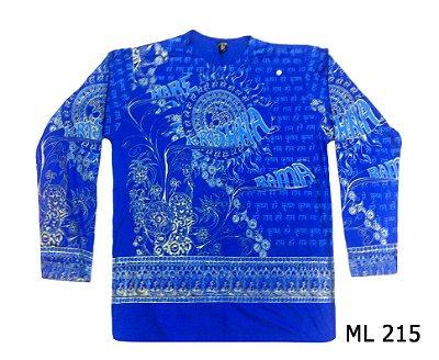 Blusa Manga Longa Indiana Masculina Krishna Azul