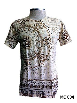 Camiseta Indiana Masculina Mantra Om Flor de Lótus Bege
