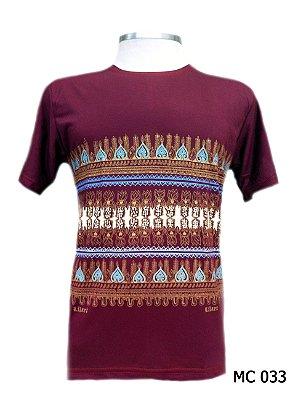Camiseta Indiana Masculina Estampada Mandalas Vinho