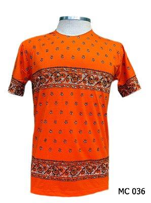 Camiseta Indiana Masculina Estampada Laranja
