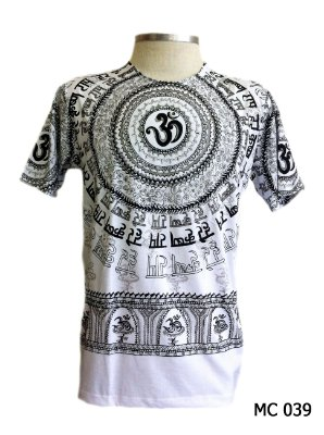 Camiseta Indiana Masculina Mantra Om Branca