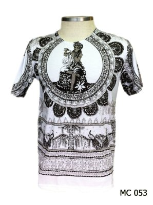 Camiseta Indiana Masculina Saraswati e Pavão Branca