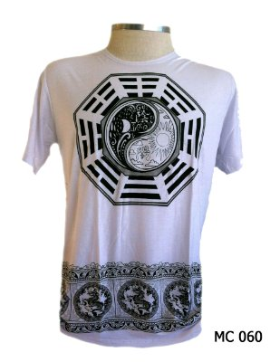 Camiseta Indiana Masculina Yin Yang Branca