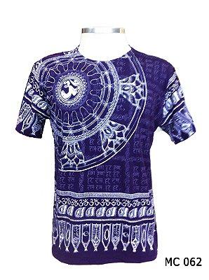 Camiseta Indiana Masculina Mantra Om Flor de Lótus Cores