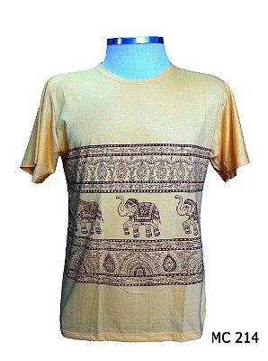 Camiseta Indiana Masculina Elefantes Étnica Bege