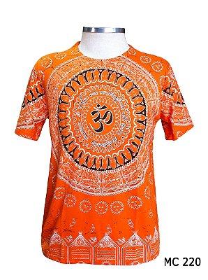 Camiseta Indiana Masculina Mandala Mantra Om Laranja
