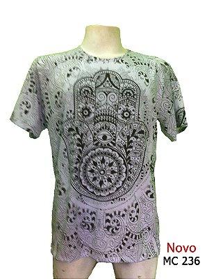Camiseta Indiana Masculina Mandalas Hamsá Branca