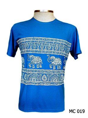 Camiseta Indiana Masculina Elefantes Étnica Azul