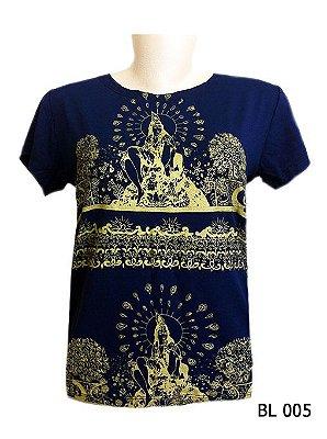 Camiseta Indiana Feminina Estampada Azul e Dourada