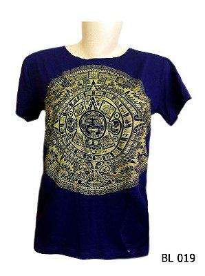Camiseta Indiana Feminina Mandala Asteca Marinho e Dourada