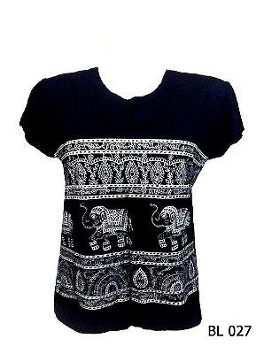 Camiseta Indiana Feminina Elefantes Preta